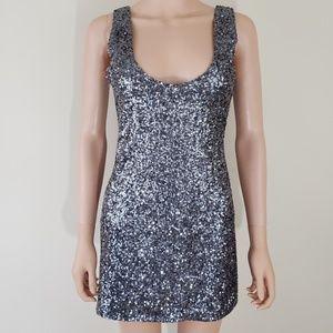 Alythea gray silver Sequins mini  dress M